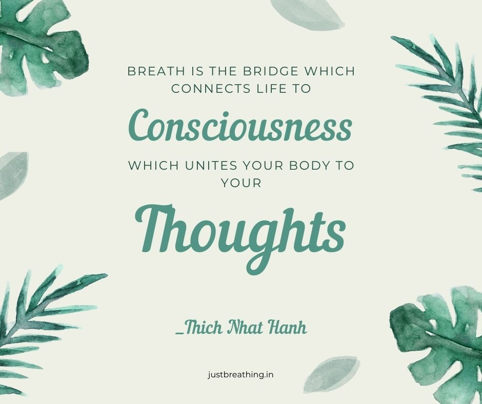 Breath connects life to consciousness, your thoughts quotes of breath - just breathing